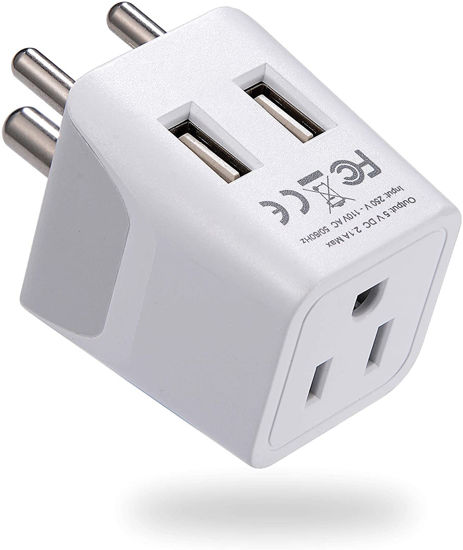 Picture of Ceptics India, Nepal, Bangladesh Travel Adapter Plug with Dual USB