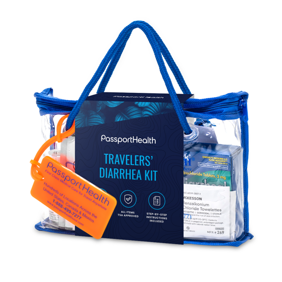 In an easy travel case, Passport Health's travelers' diarrhea kit is a must have for any destination.